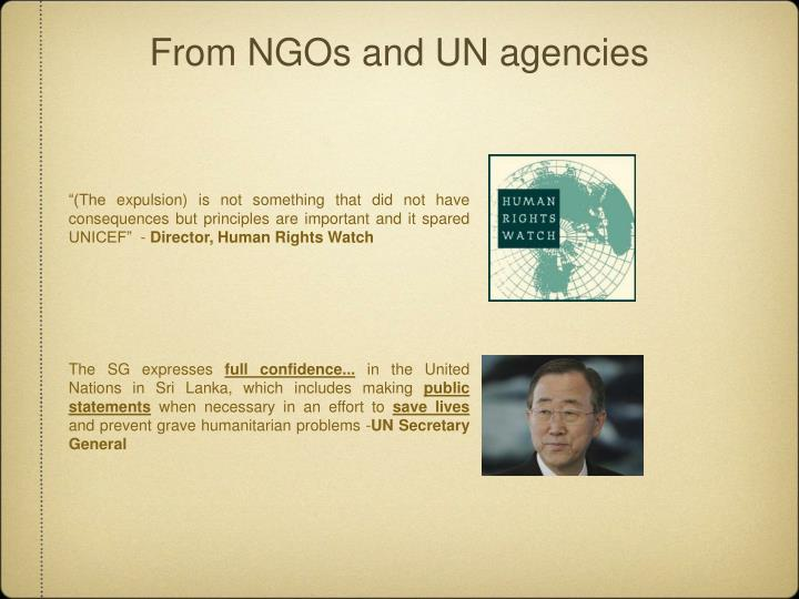 From NGOs and UN agencies