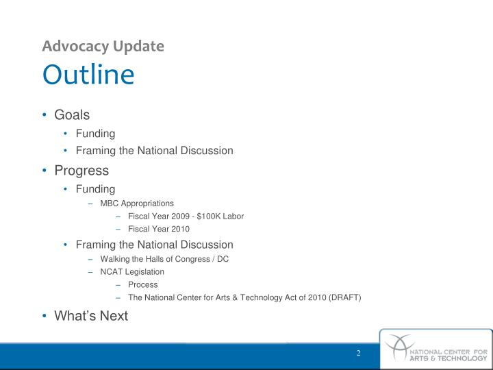 Advocacy update outline