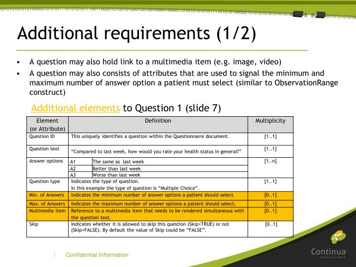 Additional requirements (1/2)