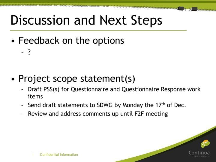 Discussion and Next Steps