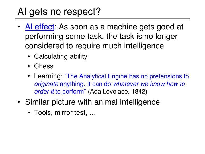 AI gets no respect?