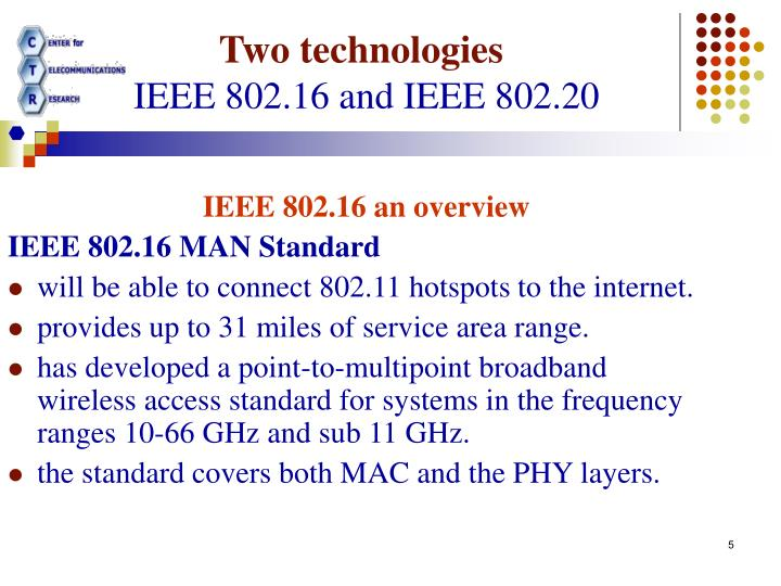 IEEE 802.16 an overview