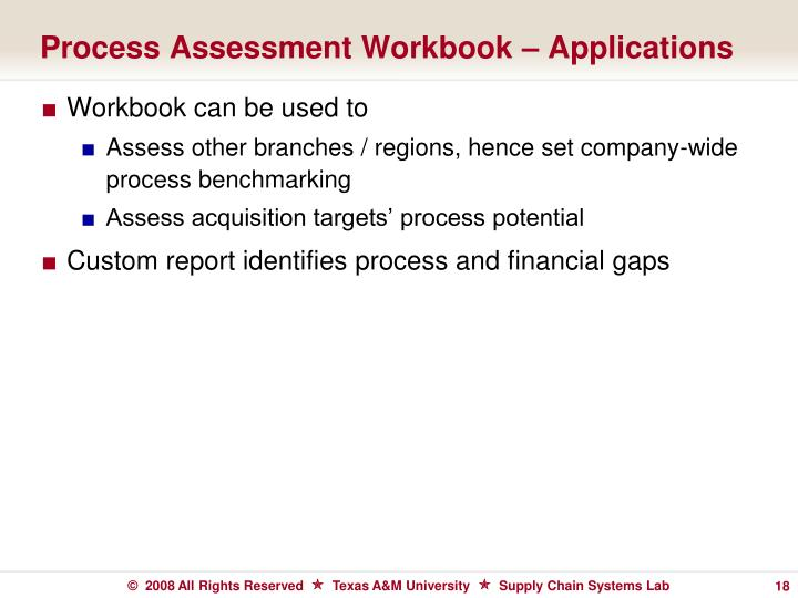 Process Assessment Workbook – Applications