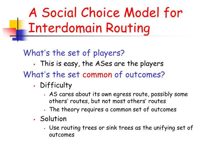 A Social Choice Model for Interdomain Routing