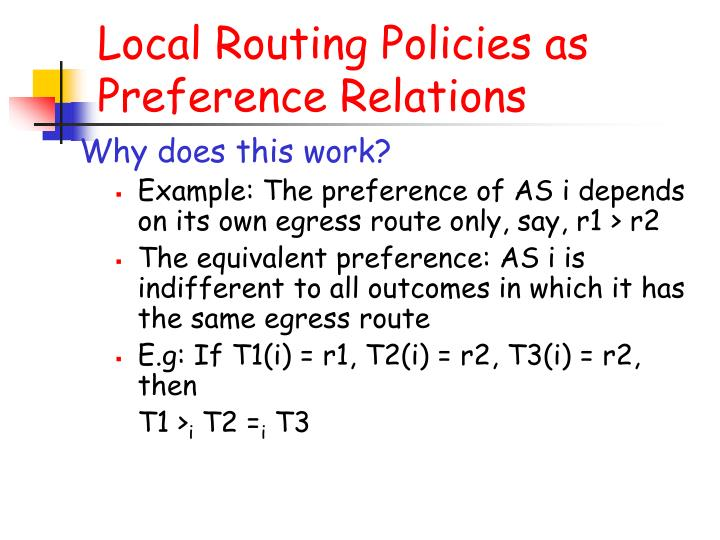 Local Routing Policies as Preference Relations