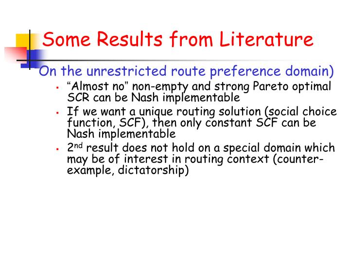 Some Results from Literature