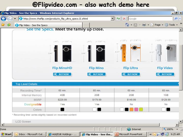 @Flipvideo.com – also watch demo here