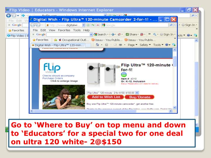 Go to 'Where to Buy' on top menu and down to 'Educators' for a special two for one deal on ultra 120 white- 2@$150