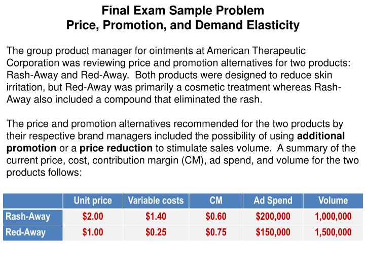 Ppt Final Exam Sample Problem Price Promotion And Demand