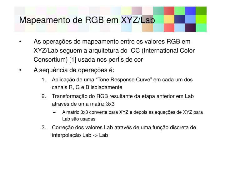 Mapeamento de RGB em XYZ/Lab