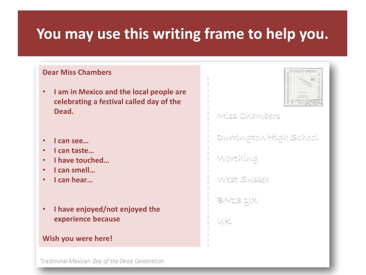 You may use this writing frame to help you