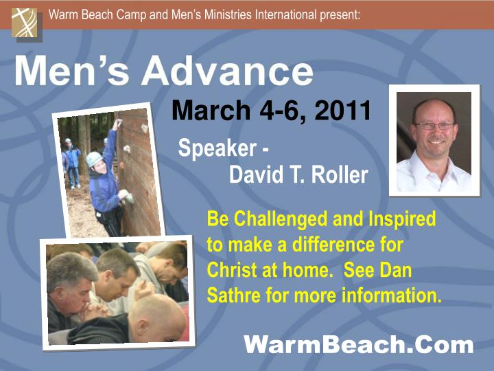 Warm Beach Camp and Men's Ministries International present: