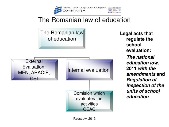 The romanian law of education