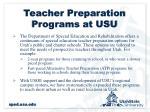teacher preparation programs at usu