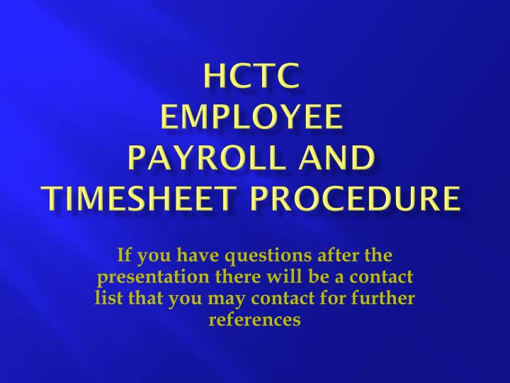 hctc employee payroll and timesheet procedure