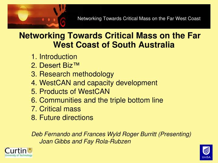 networking towards critical mass on the far west coast n.