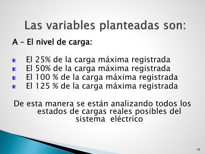 Las variables planteadas son: