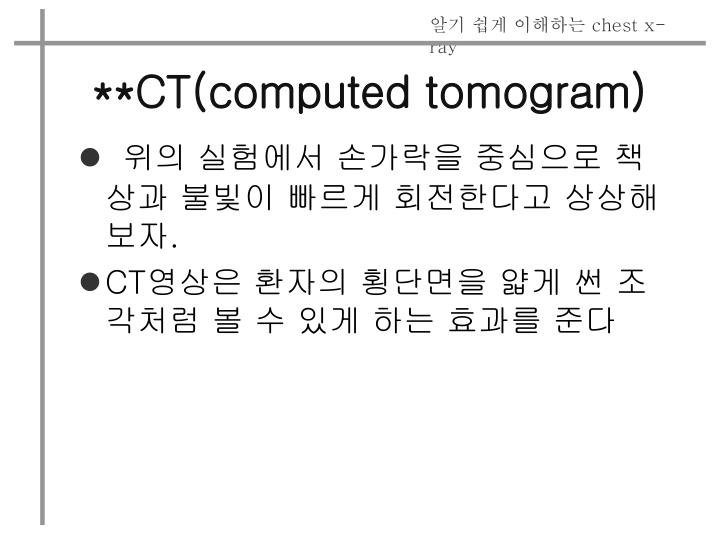 **CT(computed tomogram)