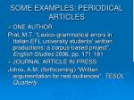 some examples periodical articles