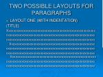 two possible layouts for paragraphs
