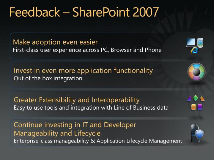 Feedback – SharePoint 2007