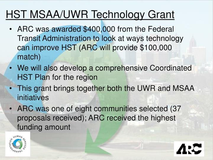 HST MSAA/UWR Technology Grant