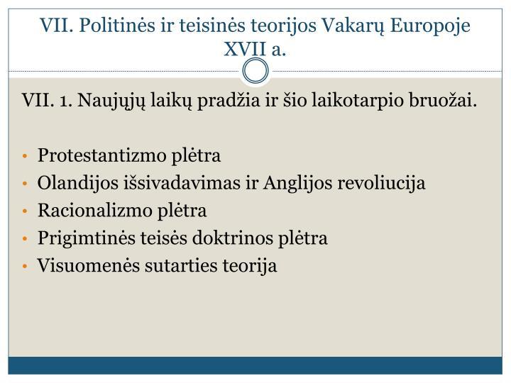 Vii politin s ir teisin s teorijos vakar europoje xvii a