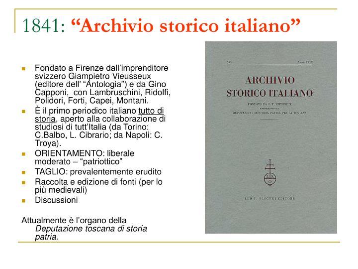 1841 archivio storico italiano