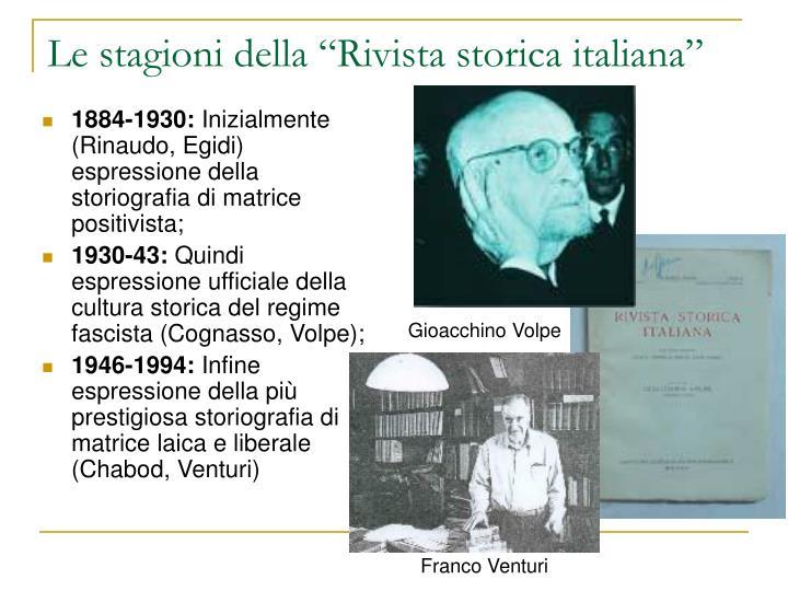"""Le stagioni della """"Rivista storica italiana"""""""