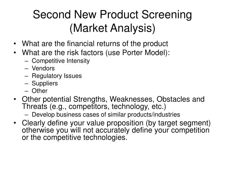 Second New Product Screening (Market Analysis)