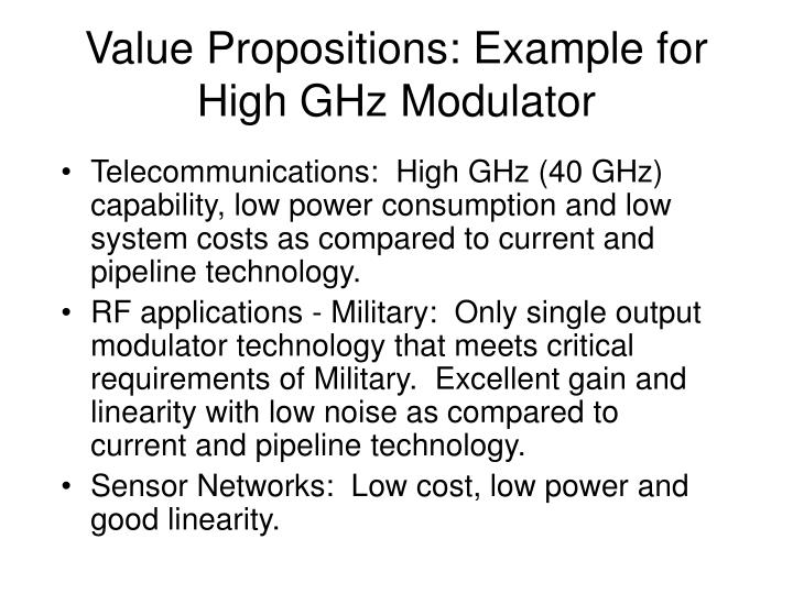 Value Propositions: Example for High GHz Modulator