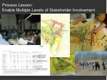 process lesson enable multiple levels of stakeholder involvement