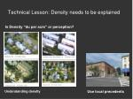 technical lesson density needs to be explained
