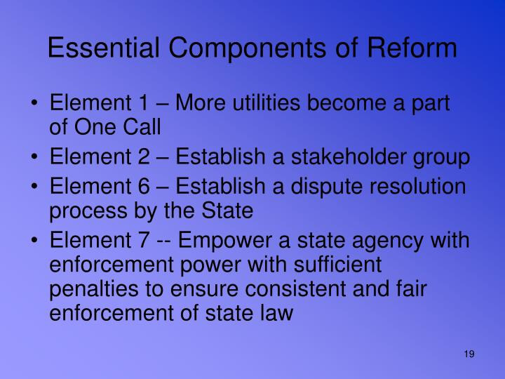 Essential Components of Reform