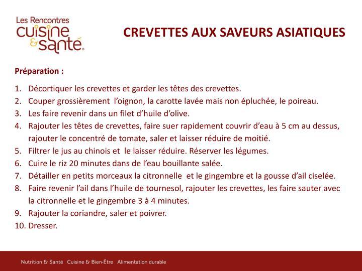 CREVETTES AUX SAVEURS ASIATIQUES