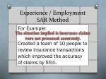 experience employment sar method1