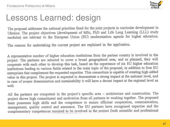 Lessons Learned: design