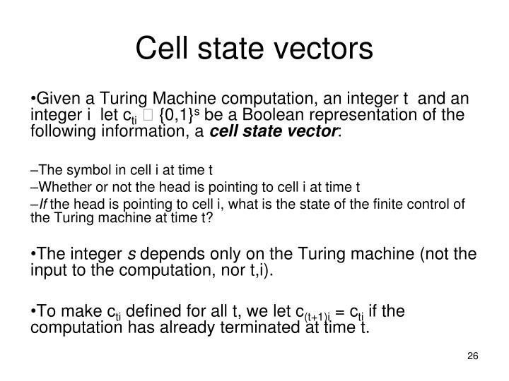 Cell state vectors