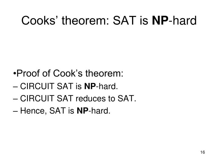 Cooks' theorem: SAT is