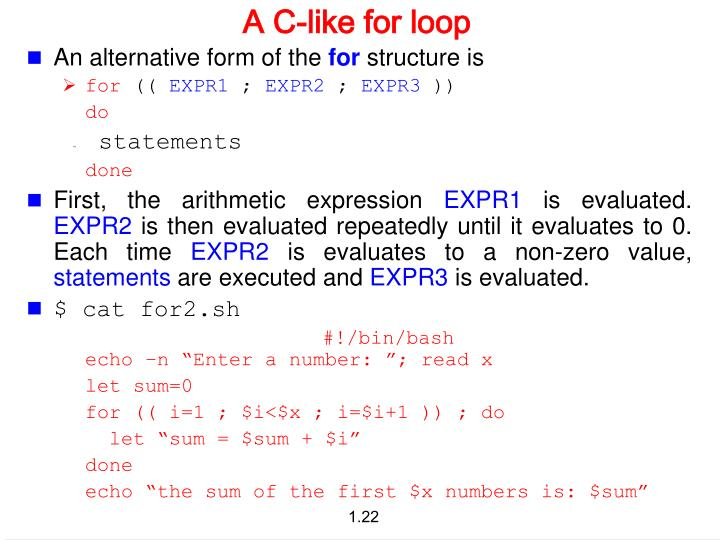 A C-like for loop