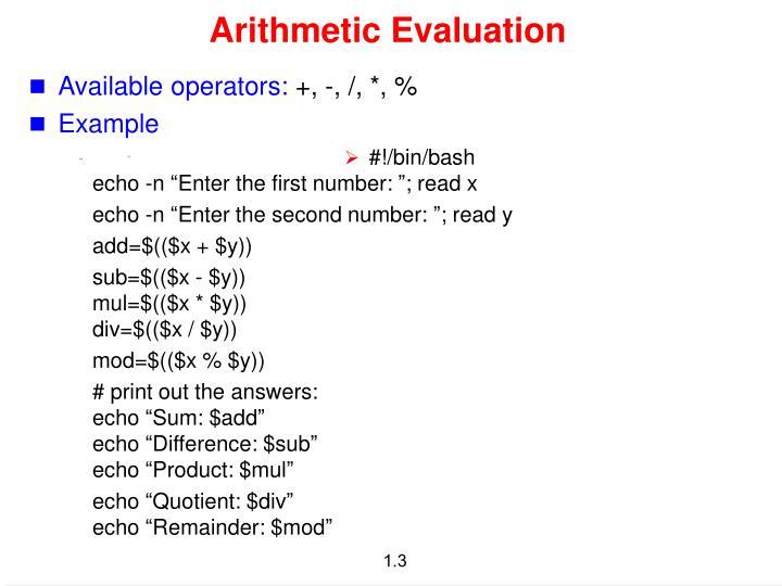 Arithmetic evaluation1