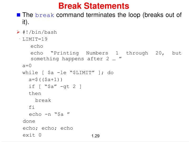 Break Statements