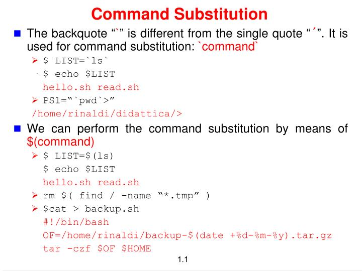 PPT - Command Substitution PowerPoint Presentation - ID:3135953