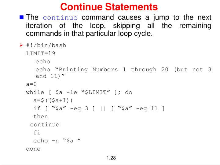 Continue Statements