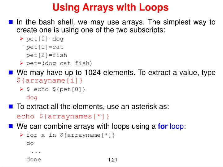Using Arrays with Loops