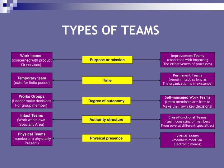 different types of work teams Here are the three most common types of work teams the types of workplace teams a cross-functional team is made up of employees from different departments.