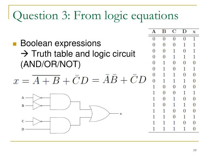 Question 3: From logic equations
