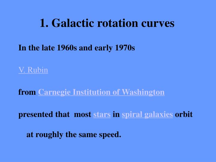 1. Galactic rotation curves