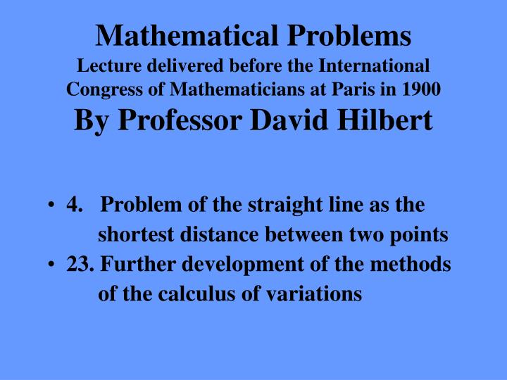 Mathematical Problems