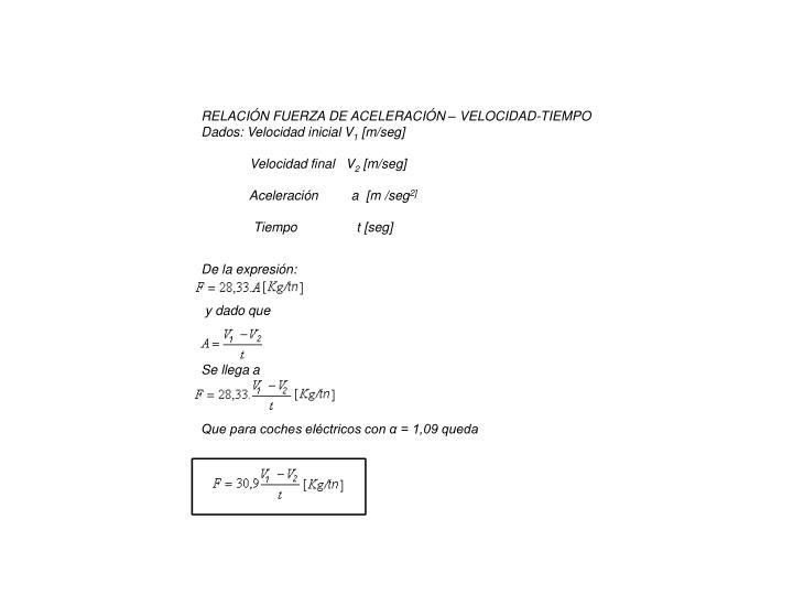 RELACIÓN FUERZA DE ACELERACIÓN – VELOCIDAD-TIEMPO